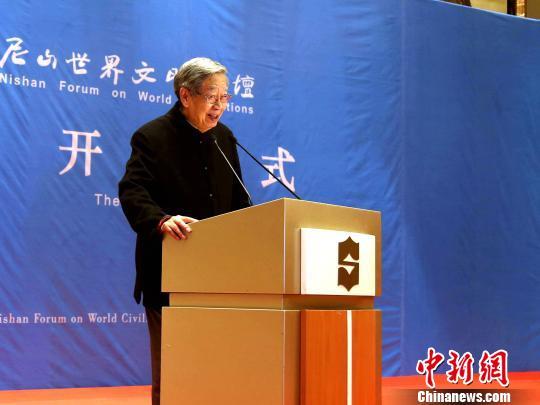 尼山论坛组委会主席许嘉璐宣布第四届尼山世界文明论坛开幕。 李欣 摄