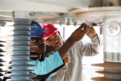 国家电网公司工程师对埃塞俄比亚技术人员传授技术.