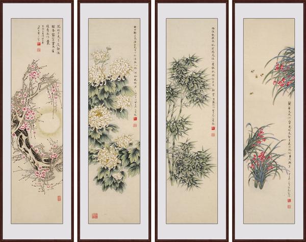 茶室字画选择 易从网推荐国画四条屏