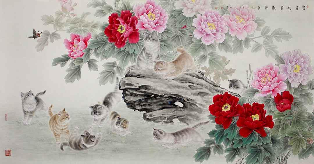 """刘白山,国家一级美术师,中国国画研究院副院长,中国书画国际文化中心主任。刘白山自幼习画,主攻中国工笔花鸟系列,尤擅以""""猫""""为题材入画。在三十余年的绘画生涯中,刘白山一直坚持工笔画法,从工笔草虫、工笔花卉到工笔猫画,不断开拓自己的画域,从未中断。刘白山告诉笔者,自己对工笔画最重要的艺术感悟是:""""中国工笔画必须要继承传统,发展创新,中西兼容,与时俱进,这样才能使自己的作品有意境,有格调。必须戒燥戒浮,下苦功夫,把心思沉稳下来,才能创作出耐看、耐品味,经得起时间考验的作品。"""