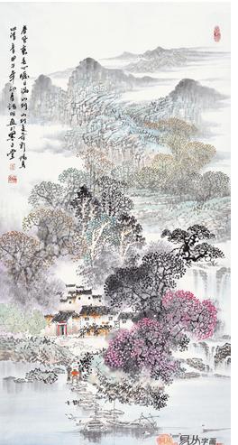 易从网画家诸明 唯美水墨江南山水画作品赏析
