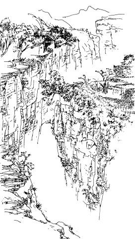 石板岩风景速写线条