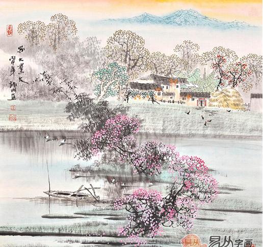 易从网画家诸明:唯美水墨江南山水画作品赏析图片