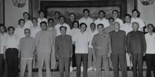 1972年,周恩來總理接見楊振寧及中國科學家。二排右一為鄧稼先。
