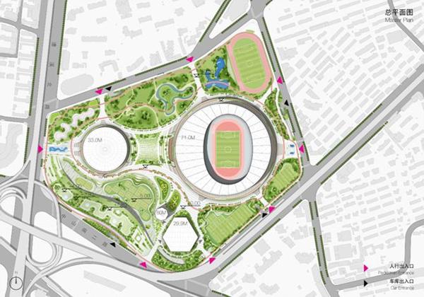 """图说:总平面图。 根据方案,徐家汇体育公园将围绕上海建设""""国际赛事之都""""的总体目标,通过场馆功能升级和户外环境改造,建设成为""""体育氛围浓厚、赛事举办一流、群众体育活跃、绿化空间宜人""""的市级公共体育活动集聚区,成为卓越的体育赛事中心、活跃的大众体育乐园、经典的体育文化地标。主要承担承办国内外顶级体育赛事、满足市民健身休闲要求、开展青少年业余训练和引领体育产业发展四项功能。 此次规划的地域为徐家汇社区132街坊,街坊四至边界为漕溪北路—零陵路&md"""