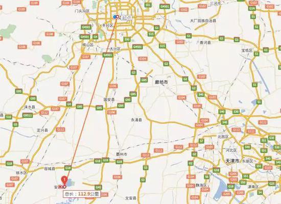 图:新区整体位于北京西南方向近110公里