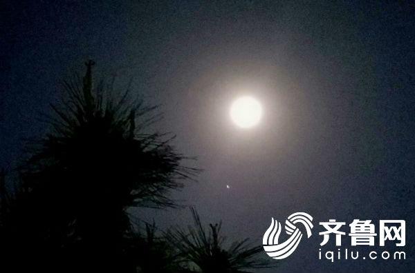 """龙口:奇妙星象 实拍""""木星伴月""""(图)"""