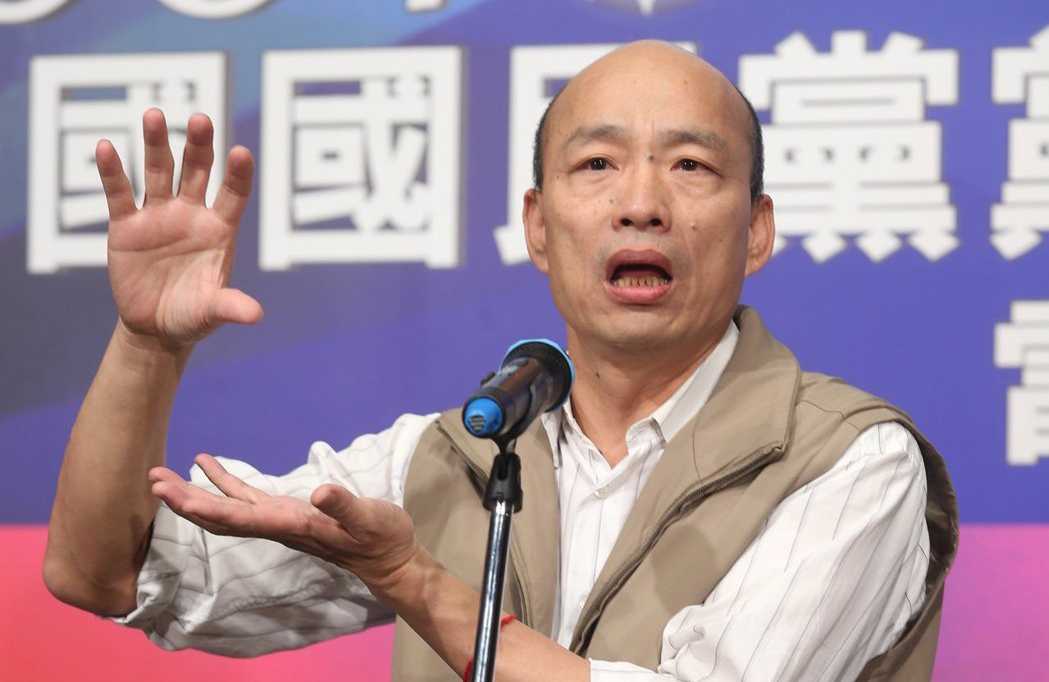 国民党主席选举第二场电视政见会6日举行,候选人韩国瑜会后受访