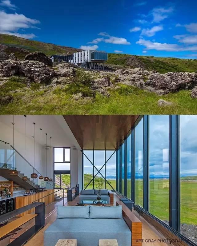 冰岛ion豪华探险酒店 狭长的外型与不规则的玻璃窗设计感超强,内部