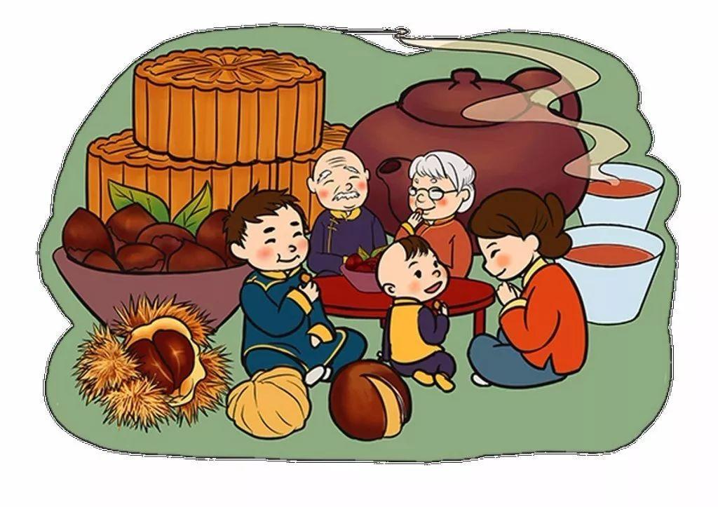 按照的传统习俗,吃月饼时,要将象征圆月的月饼按人切块.图片