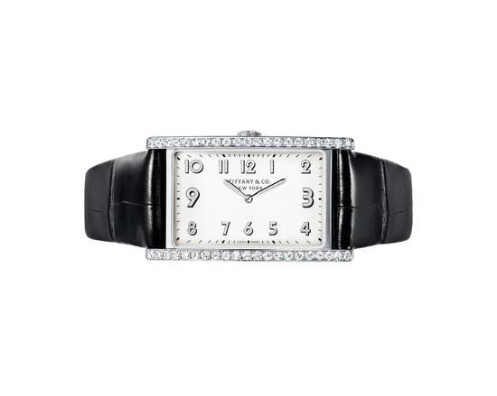 Tiffany & Co. 蒂芙尼East West系列双指针镶钻腕表,42 mm x 25 mm不锈钢表壳,黑色鳄鱼表带