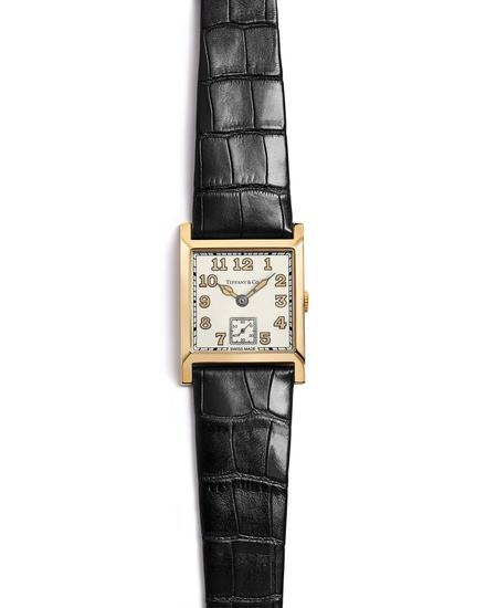 Tiffany & Co. 蒂芙尼Square系列27x35.88毫米18K金腕表,黑色鳄鱼皮表带
