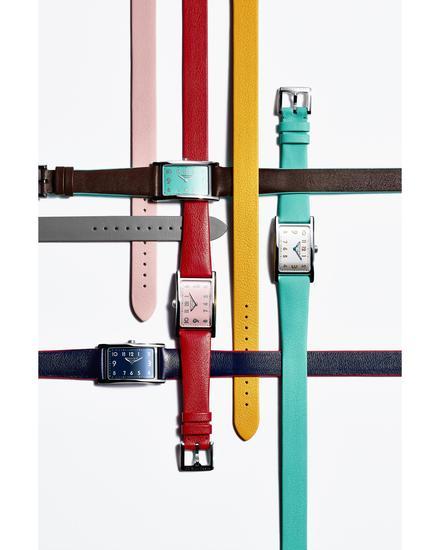 Tiffany & Co. 蒂芙尼East West迷你双指针腕表,不锈钢表壳,牛皮表带腕表(多色表带选择)