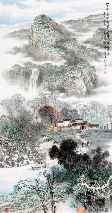 诸明字画价格多少?易从网江南山水国画欣赏!图片