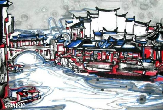 景观小桥手绘线稿图