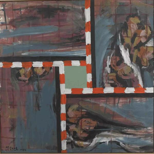 范钟鸣OP.091 分割卡纸、丙烯颜料91×91cm 1986