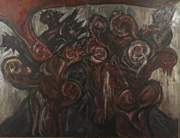 龚建庆未来的腐朽布上油画82×182cm 1991