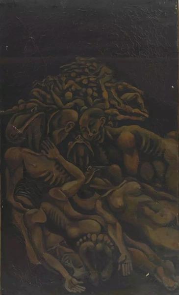 何旸我们与偶像同在(左联) 布面油画60×120cm 1987
