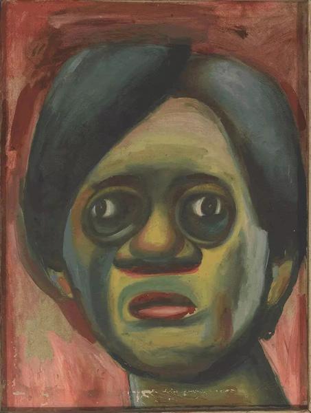 林琳成其好肖像布上油画60×45cm 1985