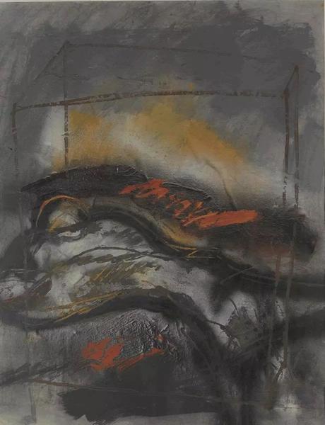赵葆康墓碑系列21号水墨、丙烯、宣纸60×48cm 1989