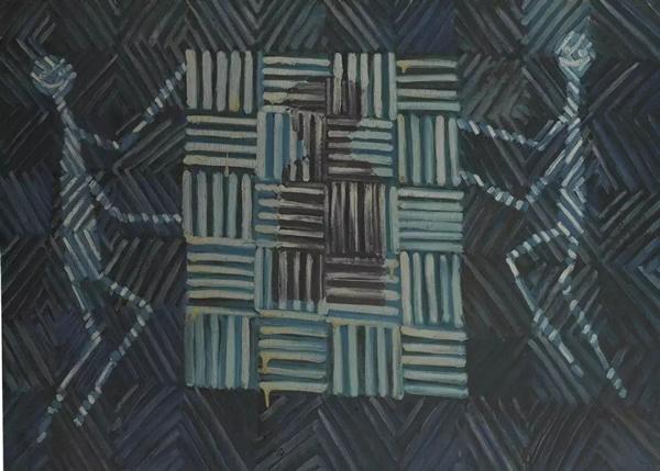 张隆肖像权布面油画80×110cm 1985