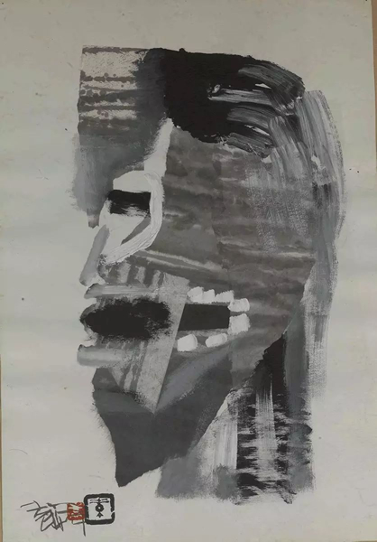 """袁顺""""喊,汗,汉""""系列5 水墨、炳烯、宣纸、卡纸38×55cm 1987"""