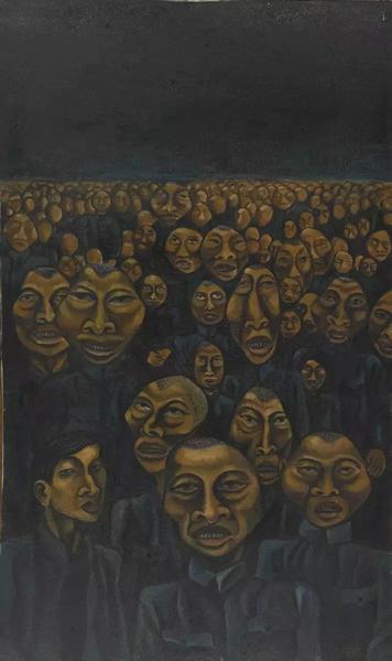 何旸我们与偶像同在(右联) 布面油画60×120cm 1987