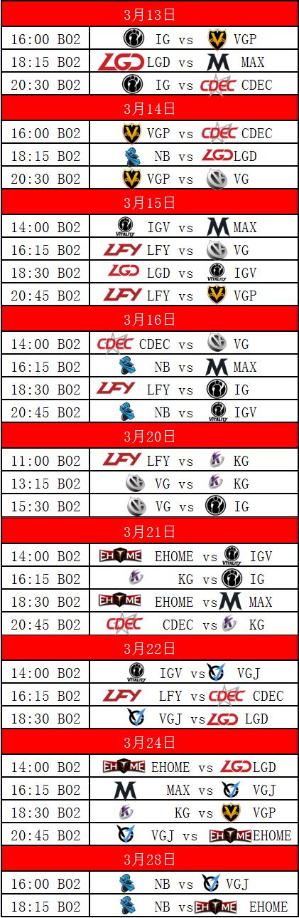 DPL顶级联赛常规赛赛程
