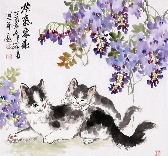 【家居装饰国画动物小猫篇】 王建辉【精品】工笔动物画国画猫《母子