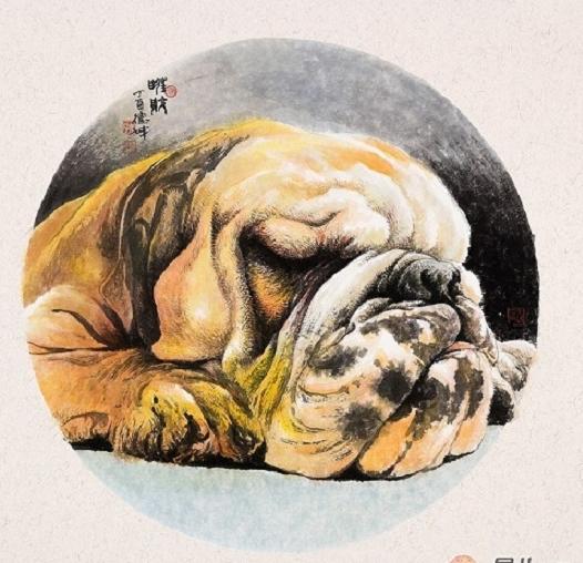 林德坤斗方工笔动物画国画狗《旺财》(作品正在【易从网】展售)