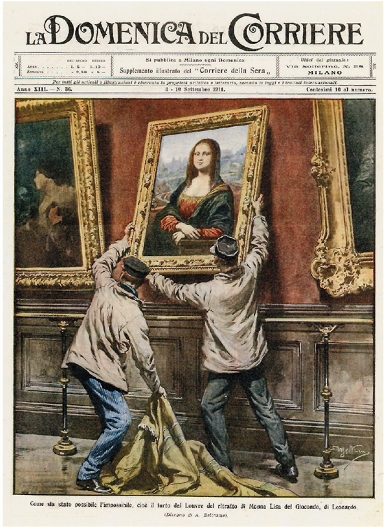 阿基乐·贝尔特拉梅(意大利) 卢浮宫偷盗蒙娜丽莎的窃贼34×25cm 印刷品1911年9月