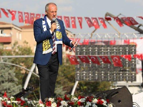 土耳其反对党候选人因杰22日在安卡拉出席竞选集会(法新社)