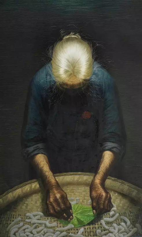 罗中立,春蚕,布面油彩,1980年,137.3×219.5×6.5厘米,龙美术馆藏