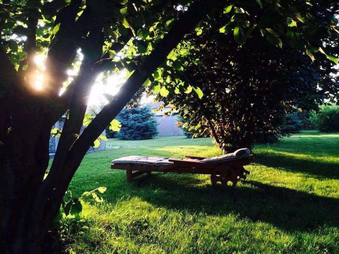 游完泳在花园里架一把躺椅,舒舒服服地在树荫下乘凉,也是非常惬意.