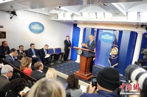 当地时间2016年12月16日,奥巴马在白宫举行年终记者会。 <a target='_blank' href='http://www.chinanews.com/' _fcksavedurl='http://www.chinanews.com/'></p><p class=