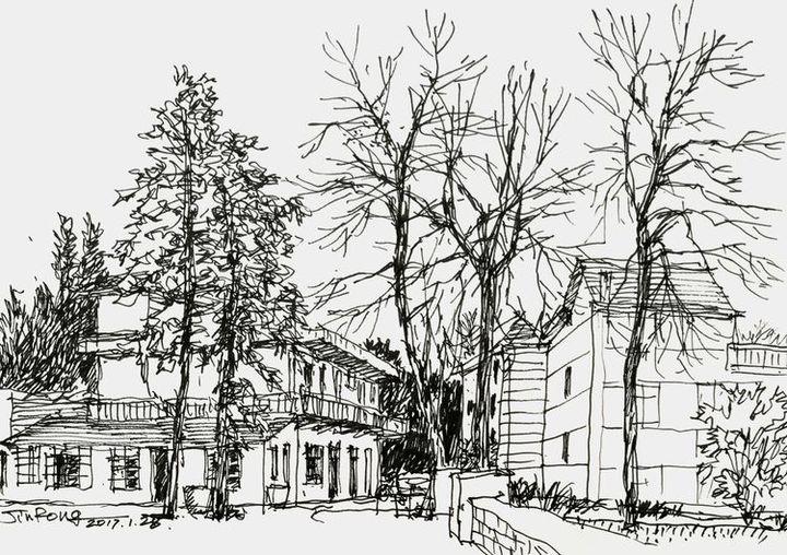 家乡风景绘画图素描