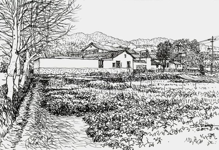 """城市  这个公路边的老房子是我们小时候叫她""""田尾外婆""""的."""