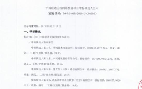 中国联通招标信息