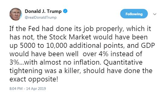 特朗普:若美联储做得好 美股能涨5000到10000点