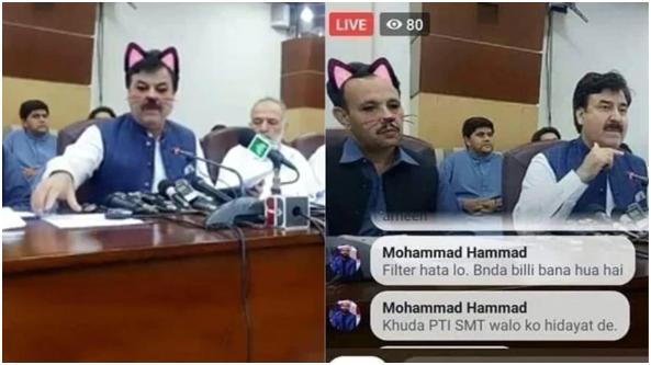 巴基斯坦政府发布会直播忘关猫滤镜 结果…