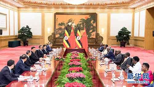 6月25日,国家主席习近平在北京人民大会堂同来华进行工作访问的乌干达总统穆塞韦尼举行会谈。 新华社记者高洁摄