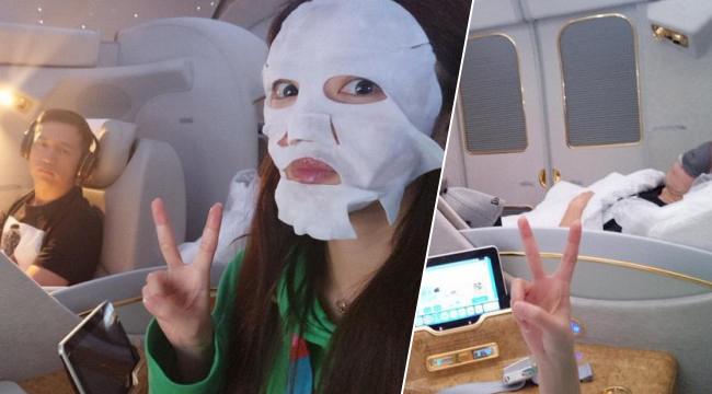 安以轩飞机上与老公秀恩爱 意外曝光豪华机舱内景
